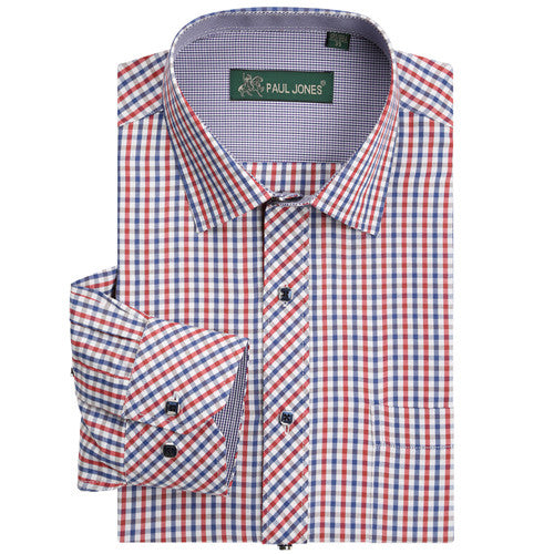 Long Sleeve Regular Fit Check Shirt Novelty Button - S - 4XL