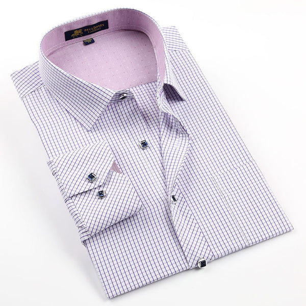 Regular Fit, Small Check/Stripe Casual Long Sleeve Shirt - S - 4XL