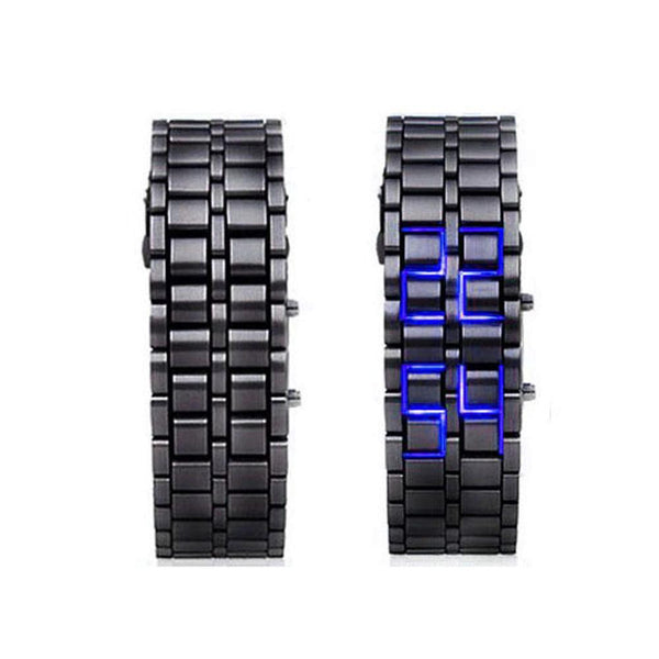 Samurai Metal LED Faceless Bracelet Watch - 2 Colors