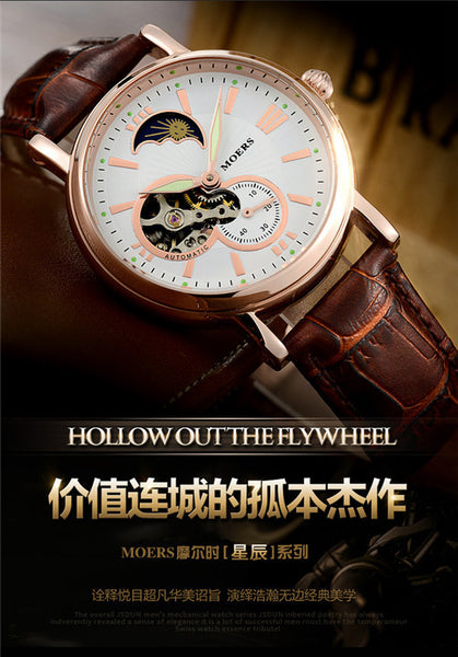 Gold and Leather Moon Phase Waterproof