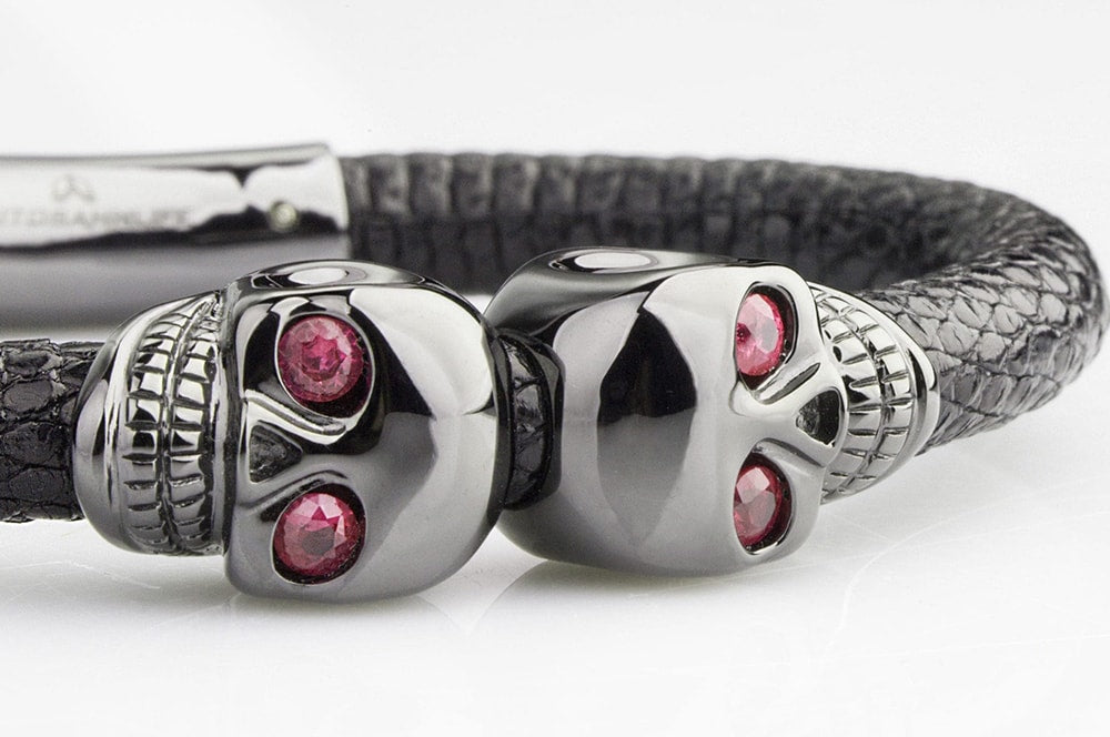 Close up of ruby eye skull bracelet