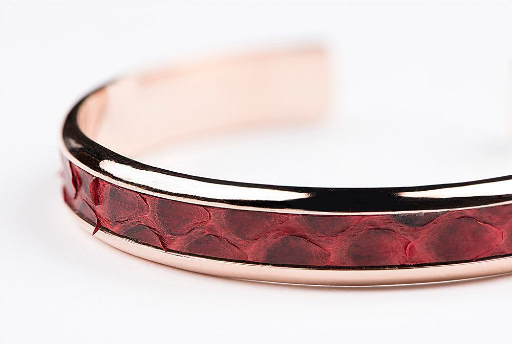 Red python rose gold cuff bracelet for men