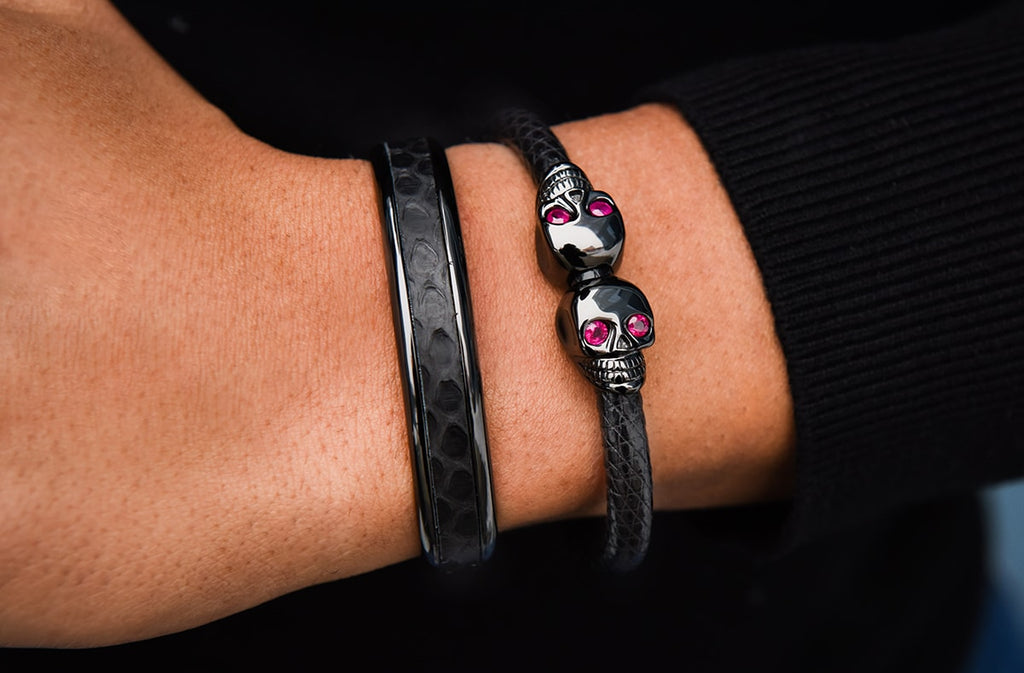 Wearing the ruby eye skull bracelet in style