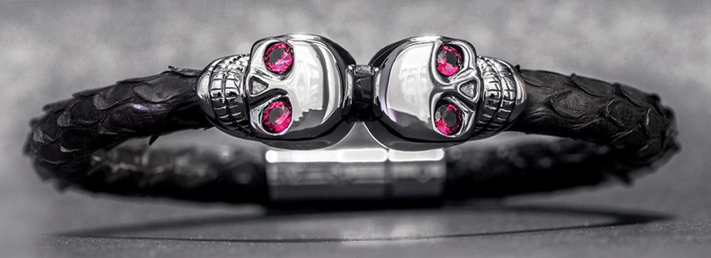 Full shot of ruby eye skull bracelet