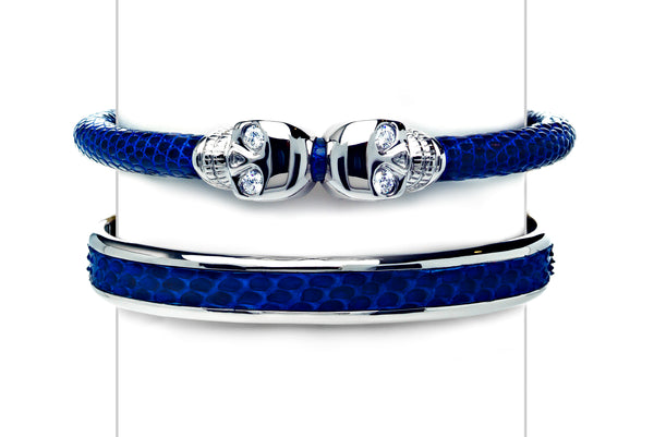 Cuff Set in Blue & White Gold