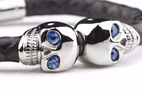 Black Python Leather Skull Bracelet with Sapphire Eyes
