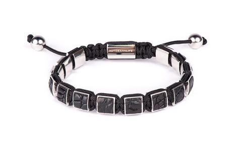 Black Croc Leather & White Gold Flat Bead Bracelet