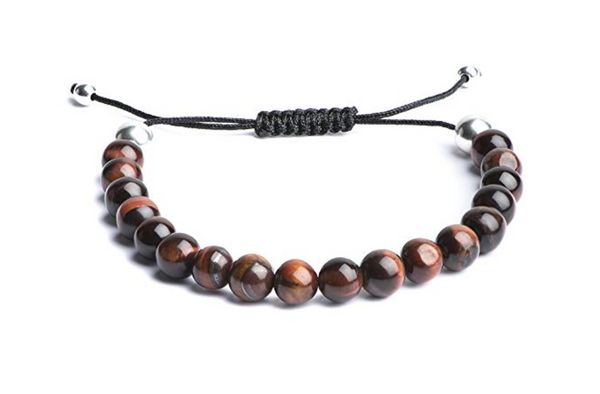 Red Tiger Eye Bracelet with White Gold Beads