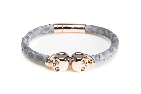 Gray Python Leather & Rose Gold Skulls Bracelet