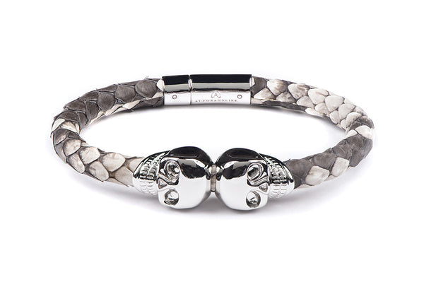 Natural Python & White Gold Skull Bracelet