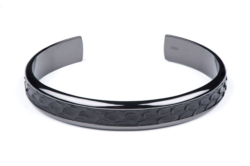 Gunmetal Cuff with Python Inlay in Black