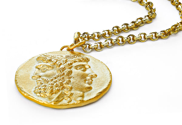 mens roman coin pendant and chain