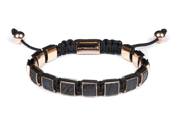 Black Croc Leather & Rose Gold Flat Bead Bracelet