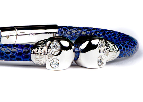Blue Lizard Leather & White Gold Skulls Bracelet