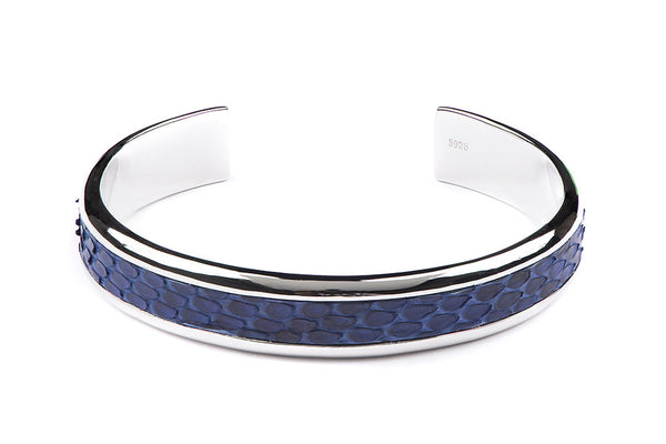 Solid Silver Cuff with Blue Python Inlay