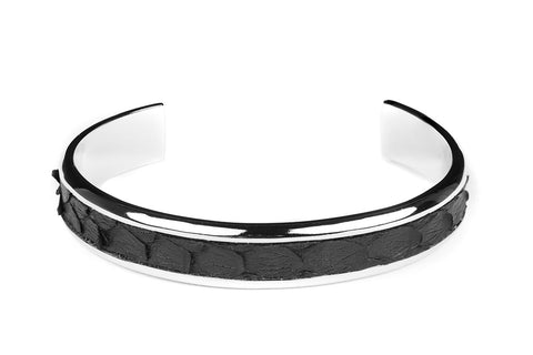 Solid Silver Cuff with Python Inlay in Black