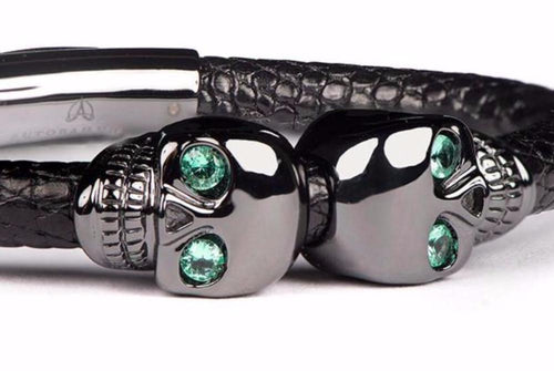 Black Lizard Leather Skull Bracelet with Emerald Eyes