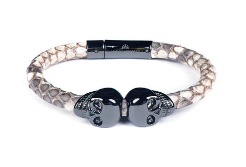 Natural Python Leather & Black Skulls Bracelet
