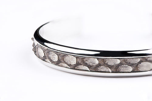 Solid Silver Cuff with Natural Python Inlay