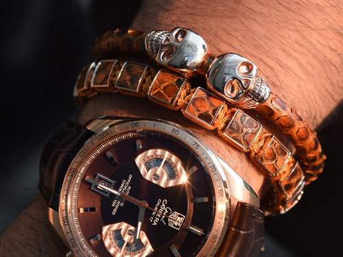 Brown Python & Rose Gold Skulls Bracelet