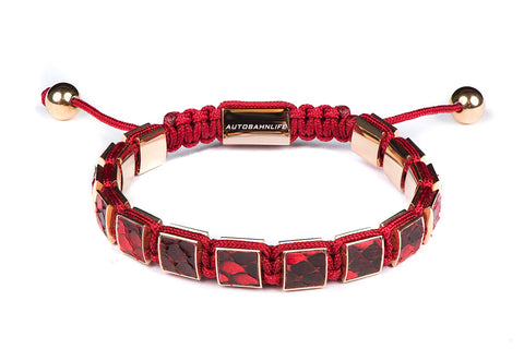 Red Python Leather Flat Bead Bracelet