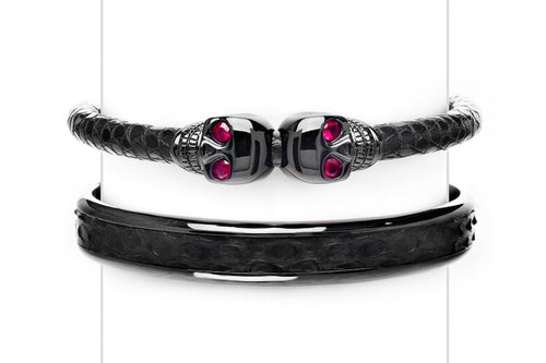 Cuff Set in Black & Rubies