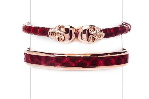 Cuff Set in Red & Rose Gold
