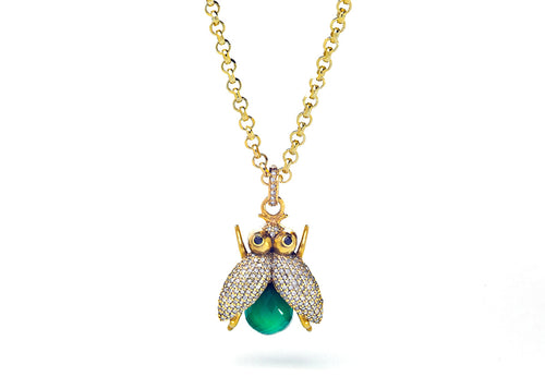 Diamond Bee Pendant & Chain