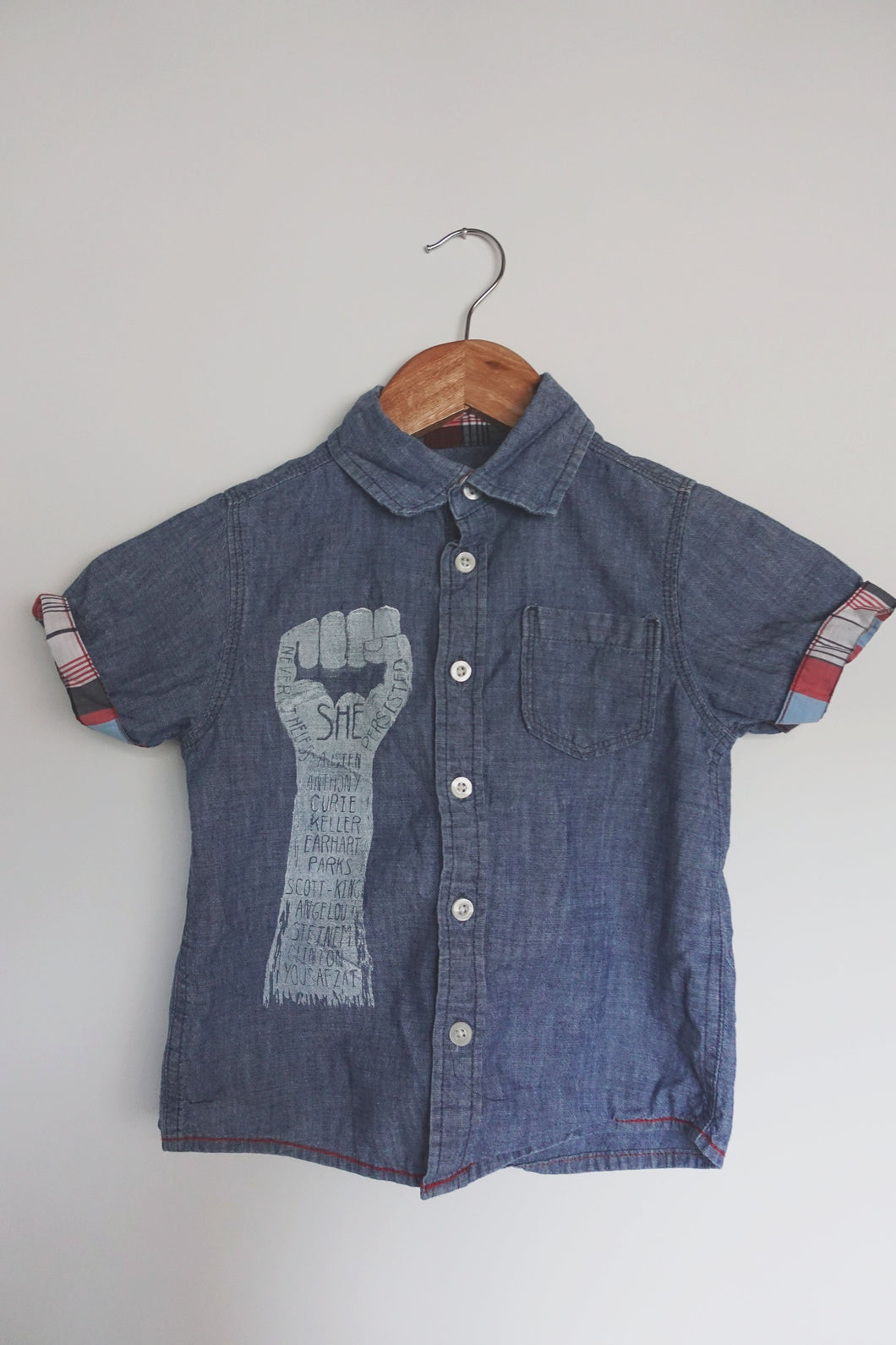 Upcycled Kids 4T Button-Up Denim Tee