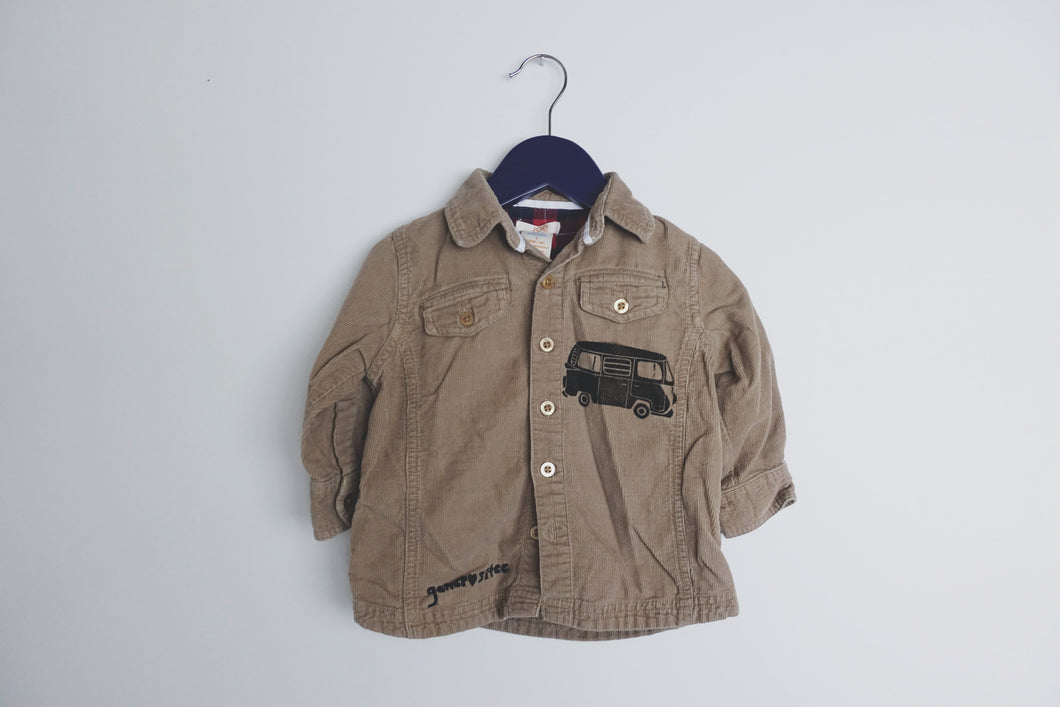 Upcycled Kids 1 Yr Button-Up Corduroy Shirt