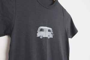 vw van kids bamboo charcoal grey tee