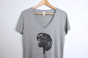 women's heather grey v-neck bamboo tee