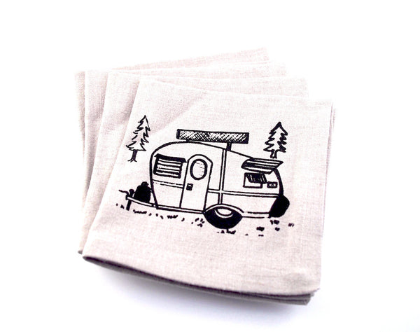 Vintage Campers Linen Cocktail Napkin Set