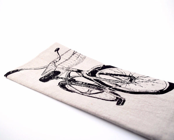 Vintage Bike Linen Tea Towel