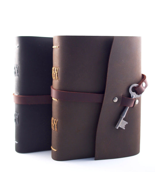 Leather Notebooks with Antique Key Closure