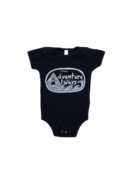 Adventure Always Black Onesie
