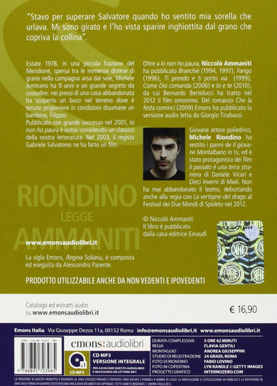 Io non ho paura letto da Michele Riondino. Audiolibro. CD Audio formato MP3