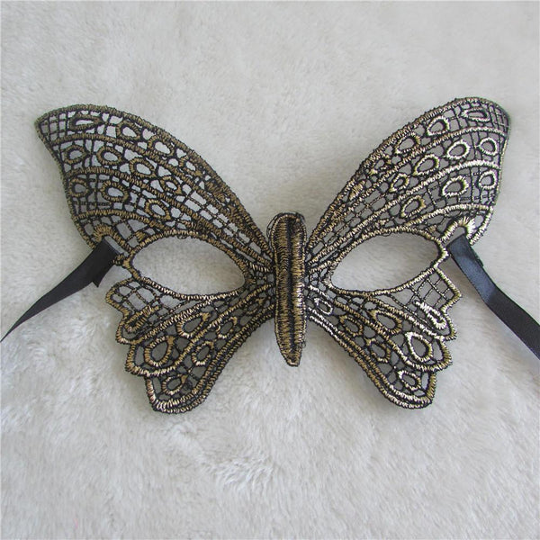 Gold Lace Butterfly Masquerade Mask