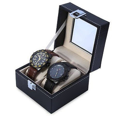 Mens Glass PVC Leather Clasp 2 Watch Display Case
