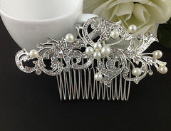 Bridal Hair Accessories: Clip in Pearl Swirl Comb