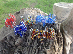 Beaded Animal African Art keyrings