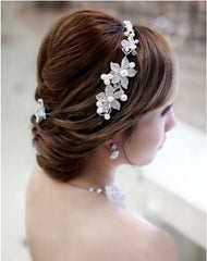 Bridal Hair Accessories: Clip in Flower and Pearl Hairband