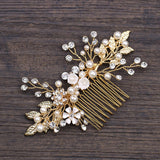 Bridal Pearl Gold Hair Comb Accessory