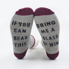 "Novelty Socks: ""If you can read this Bring me a glass of wine"""