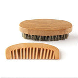 Mens Wooden Beard Brush and Comb Set