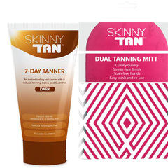 Skinny Tan 7 Day Tanner DARK AU Packaging + Double Sided Tanning Mitt 150ml