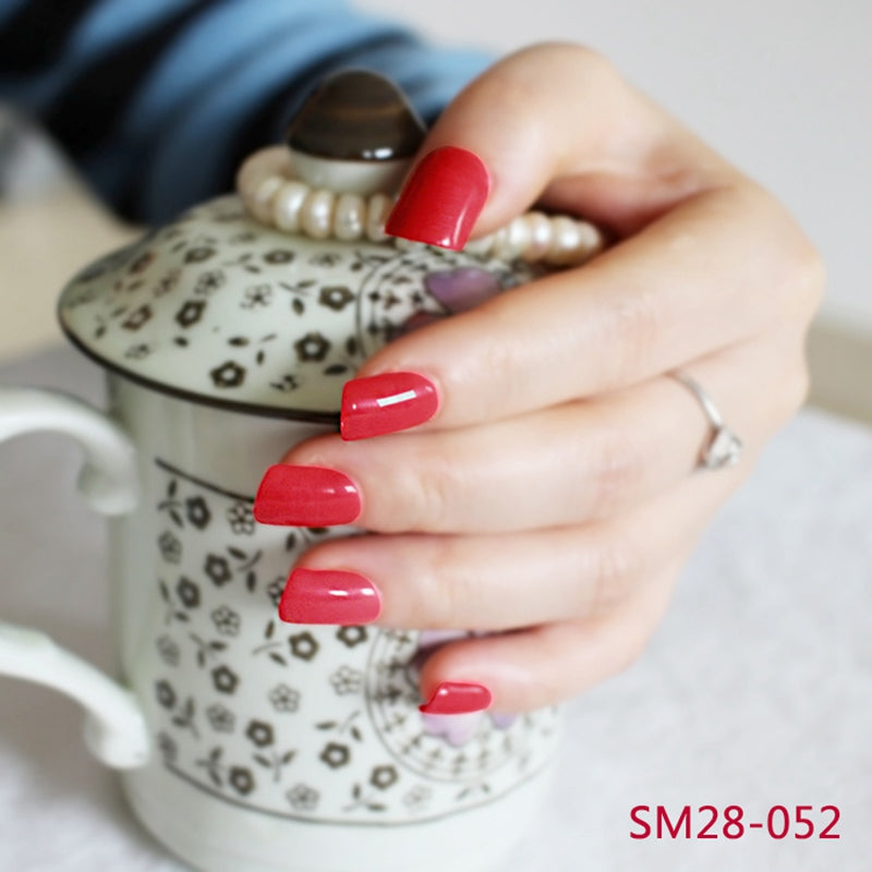24 Square Fake Red Nails – Taymee