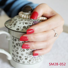 24 Square Fake Red Nails