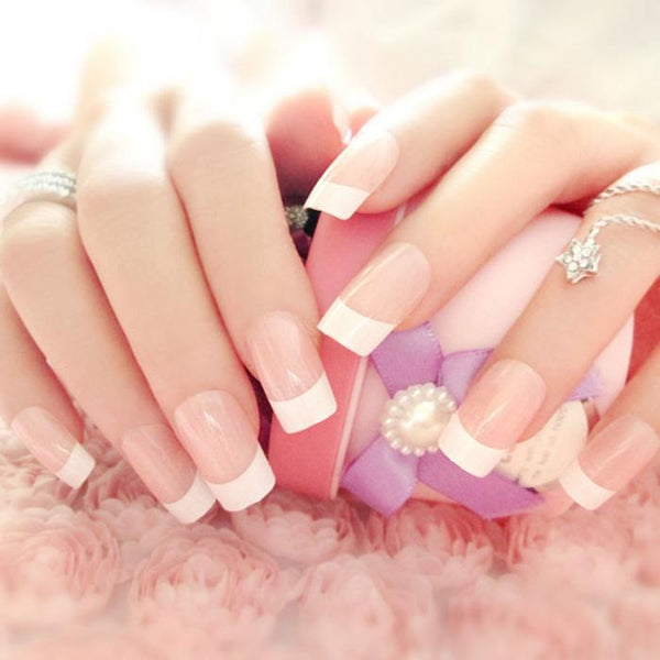 24 Fake French Manicure Nails with Adhesive