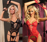 Lace Lingerie Bodysuit 4pcs Set UK 6-8